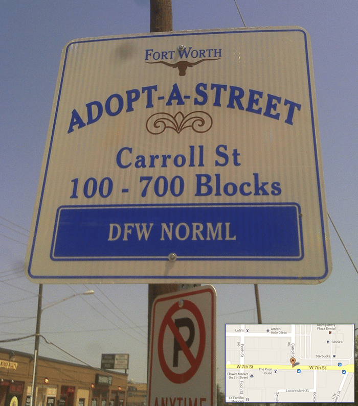 DFW NORML ADOPTS A STREET IN FORT WORTH, TEXAS AT 7TH AND CARROL