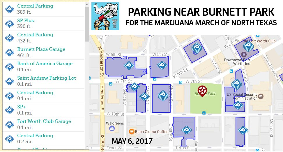Marijuana March of North Texas Parking Near Burnett Park